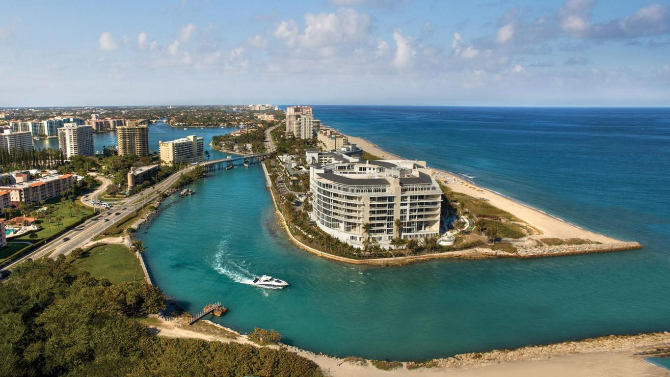 Aerial view of 1000 S Ocean Blvd, Boca Raton, FL 33432 One Thousand Ocean ultra-luxury condominiums