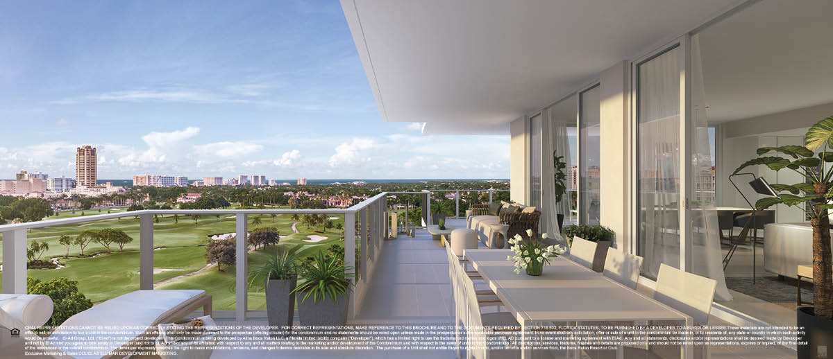 Alina Residence L 200 SE Mizner Blvd Boca Raton FL 33432 luxury condos for sale balcony view rendering for Jean-Luc Andriot blog on 091818