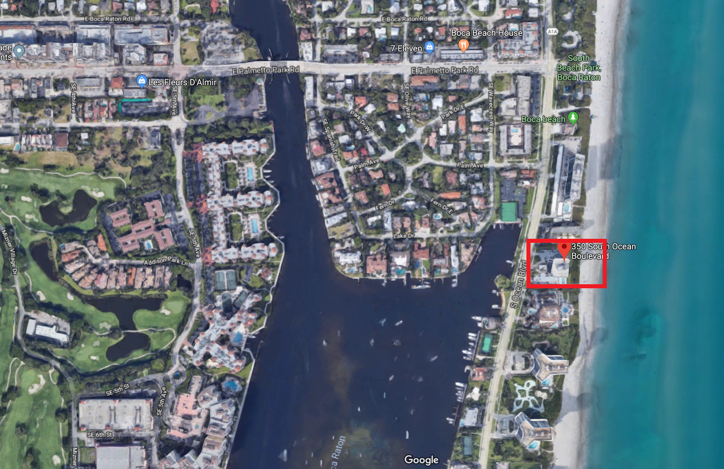 Beresford 350 S Ocean blvd Boca Raton FL 33432 luxury oceanfront condos for sale aerial view