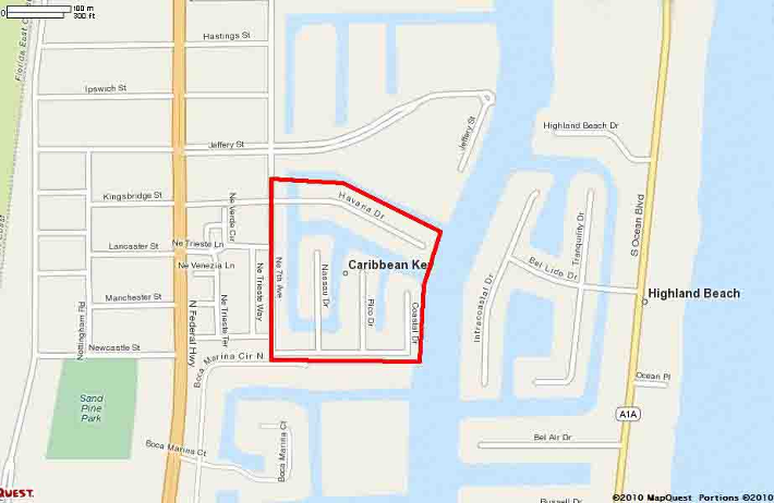 Caribbean Keys Boca Raton Luxury homes for sale map