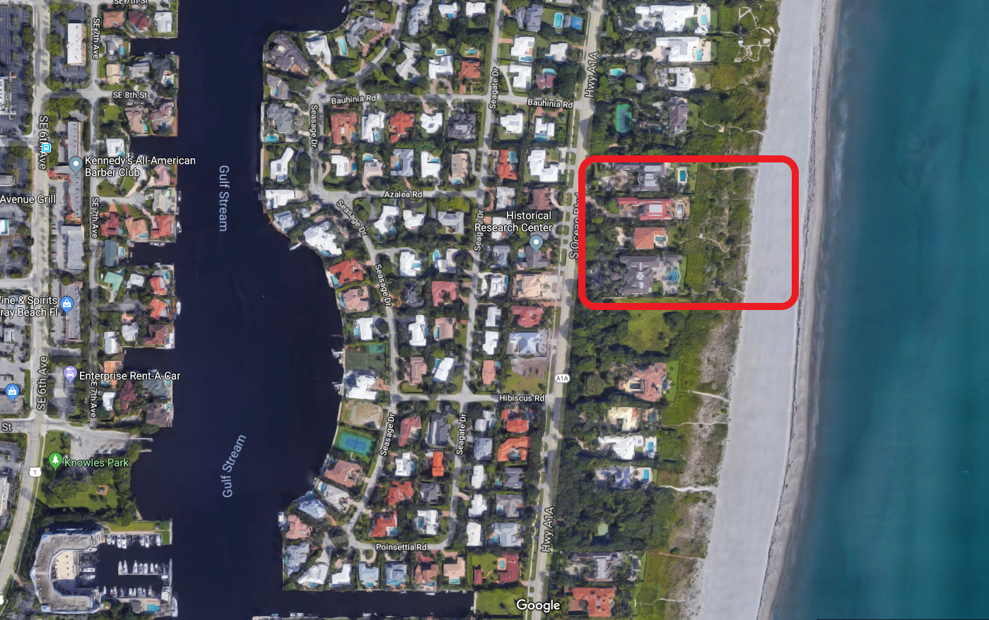 Delray Beach Turtle Beach Estates oceanfront luxury homes for sale aerial