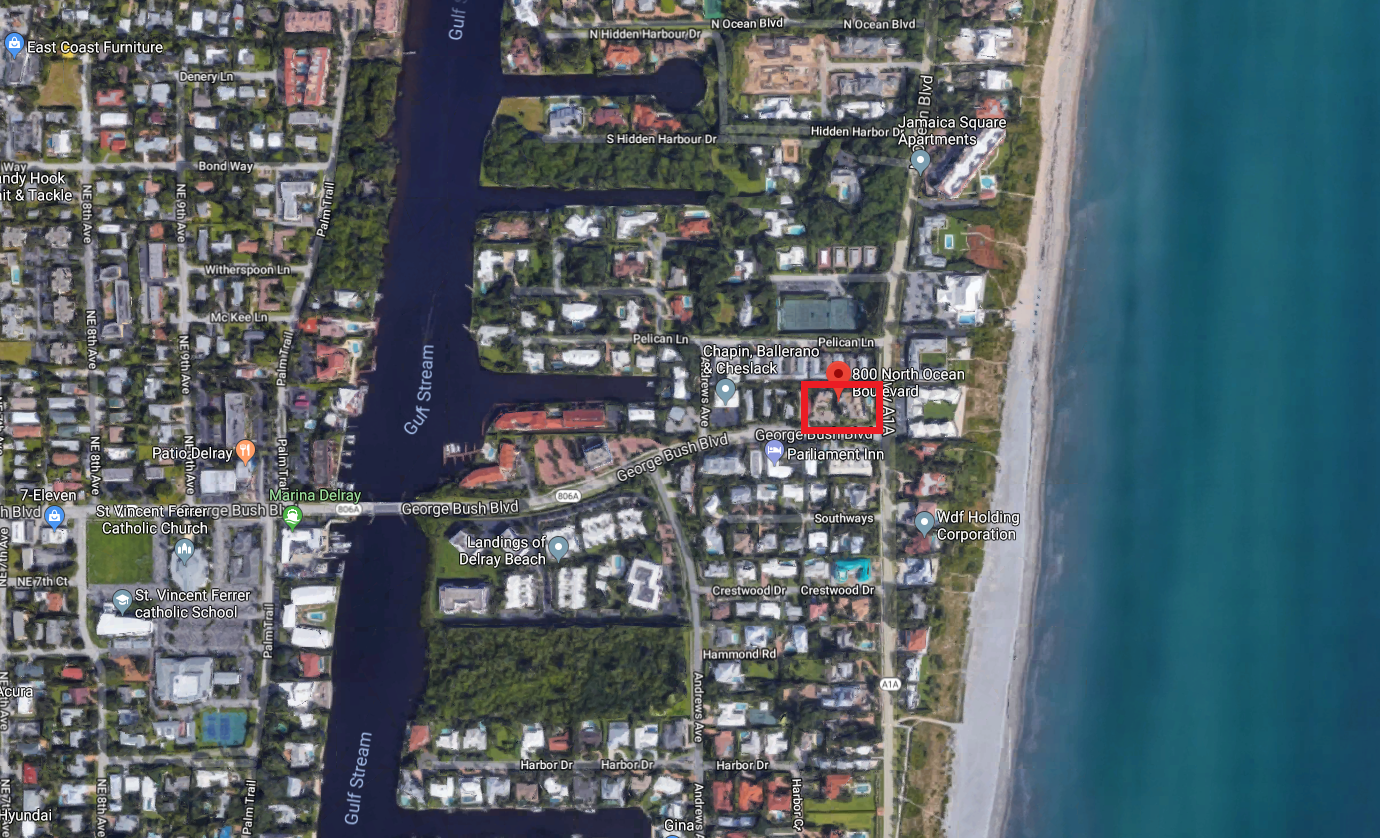 Eight Hundred Ocean Place 800 N Ocean Blvd Delray Beach FL 33483 luxury condos for sale aerial