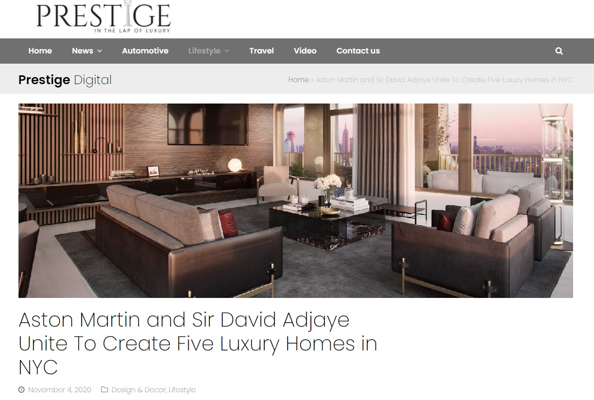 From PrestigeDigital.net, Aston Martin and Sir David Adjaye Unite To Create Five Luxury Homes in NYC for Jean-Luc Andriot blog 121720