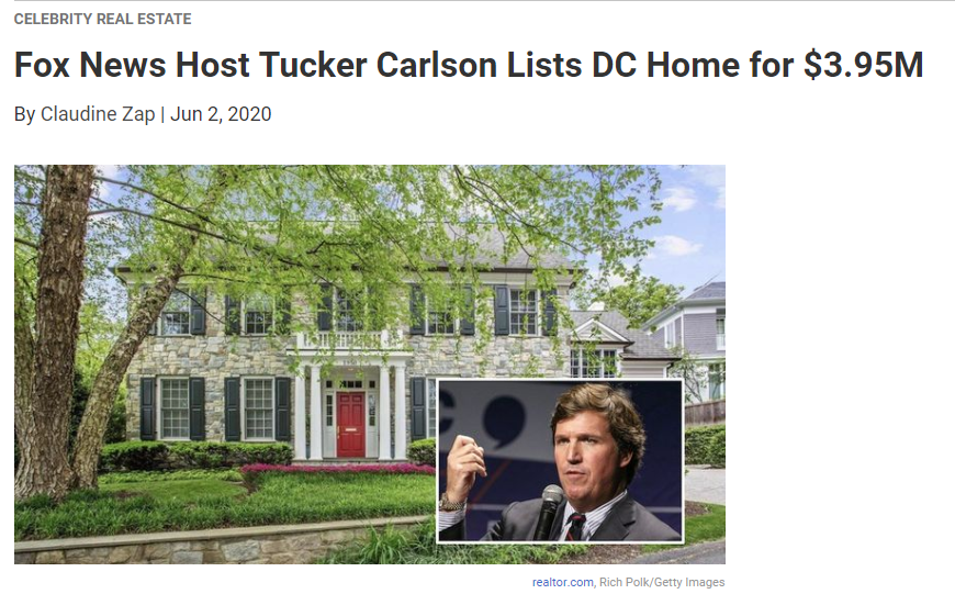 From Realtor.com, Fox News Host Tucker Carlson Lists DC Home for $3.95M for Jean-Luc Andriot blog 060520