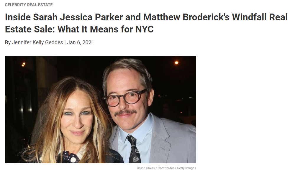 From Realtor.com, Inside Sarah Jessica Parker and Matthew Broderick's Windfall Real Estate Sale for Jean-Luc Andriot blog 010721