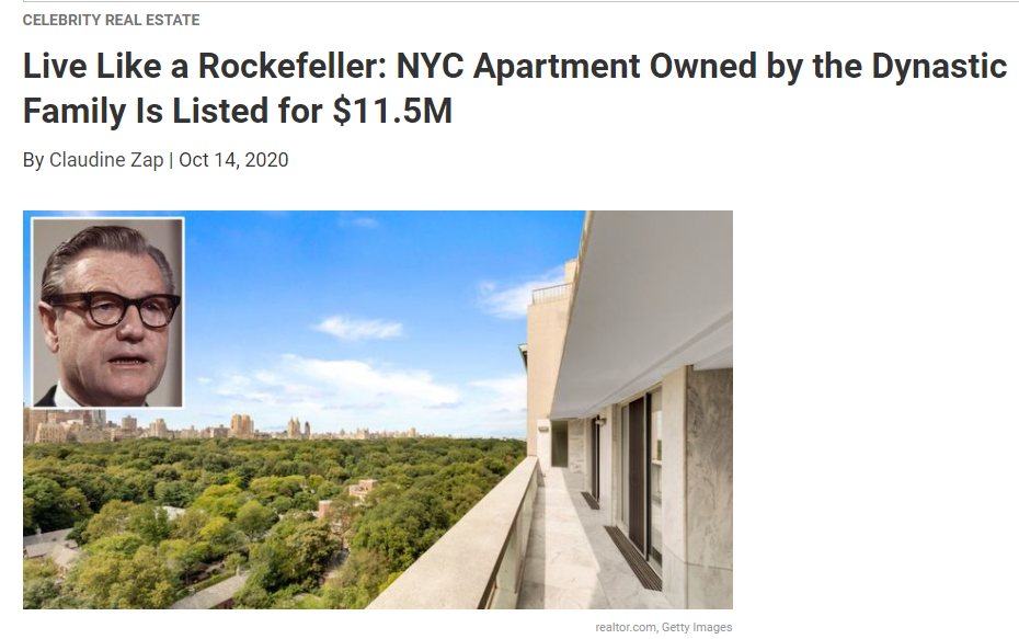 From Realtor.com Live Like a Rockefeller: NYC Apartment Owned by the Dynastic Family Is Listed for $11.5M for Jean-Luc Andriot blog 101620