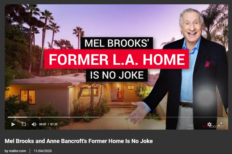Video - From Realtor.com, Mel Brooks and Anne Bancroft's Former Home Is No Joke for Jean-Luc Andriot blog 11092