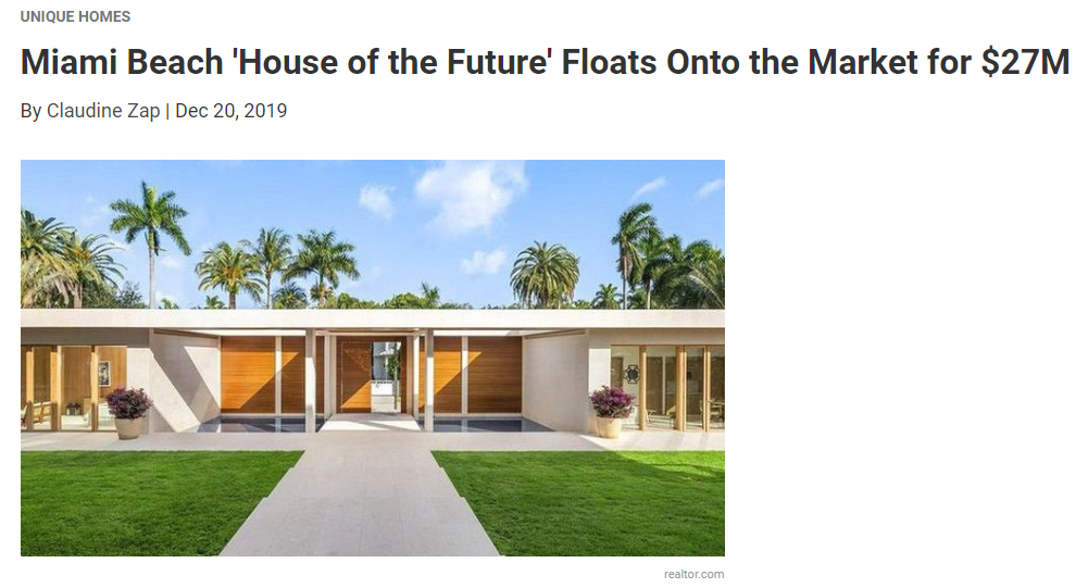 From Realtorcom Miami Beach 'House of the Future' Floats Onto the Market for $27M for Jean-Luc Andriot blog 122319