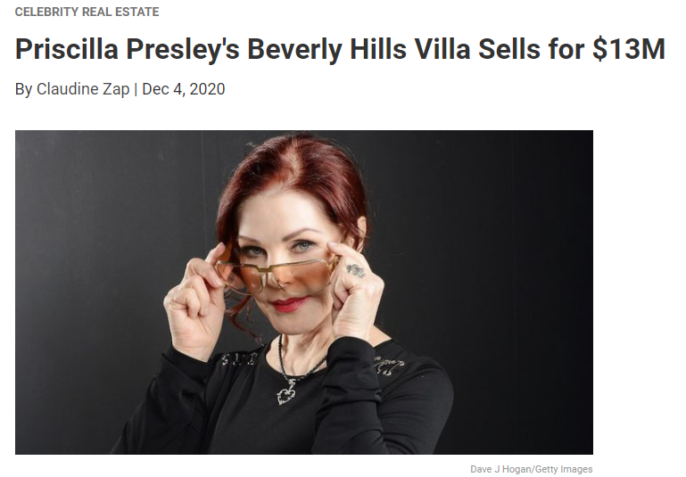 From Realtor.com, Priscilla Presley's Beverly Hills Villa Sells for $13M for Jean-Luc Andriot blog 120920