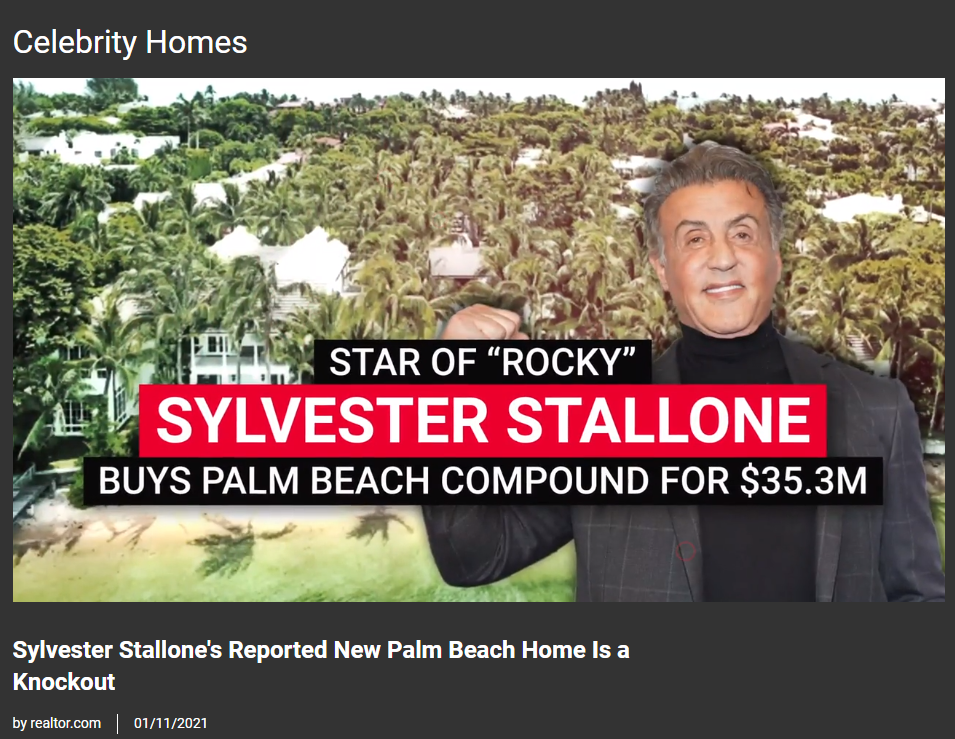 From Realtor.com, Sylvester Stallone's Reported New Palm Beach Home Is a Knockout for Jean-Luc Andriot blog 011821