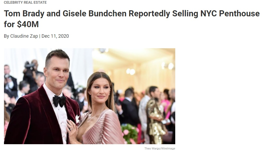 From Realtor.com, Tom Brady and Gisele Bundchen Reportedly Selling NYC Penthouse for $40M for Jean-Luc Andriot blog 121520