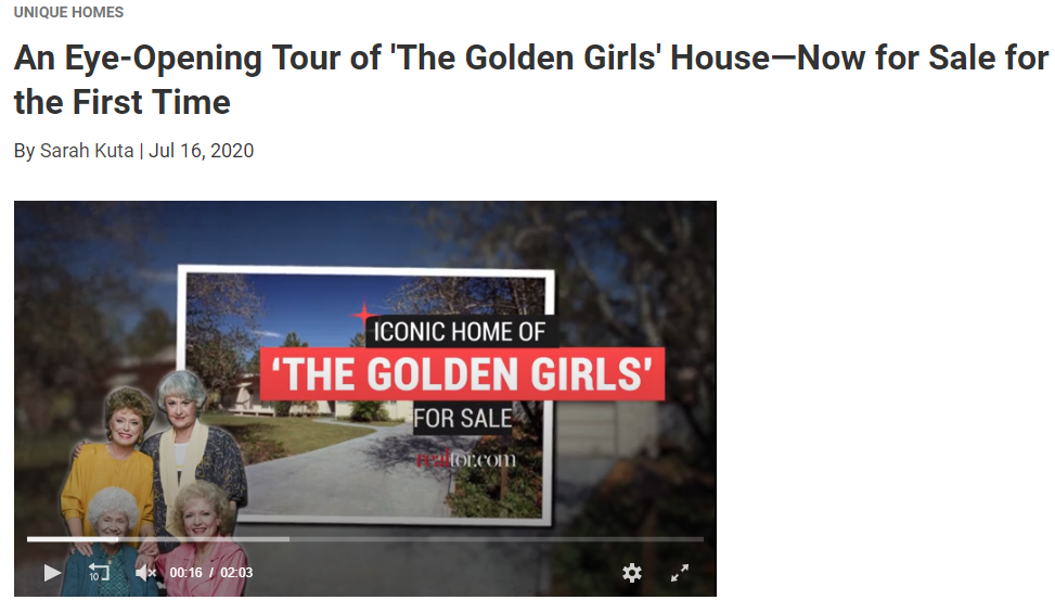 From Realtor.com, An Eye-Opening Tour of 'The Golden Girls' House—Now for Sale for the First Time for Jean-Luc Andriot blog 072220