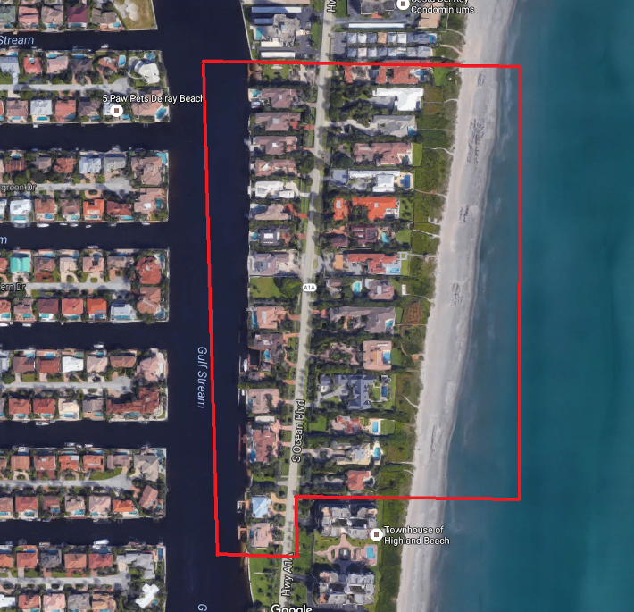 Byrd Beach Estates luxury homes in Highland Beach aerial