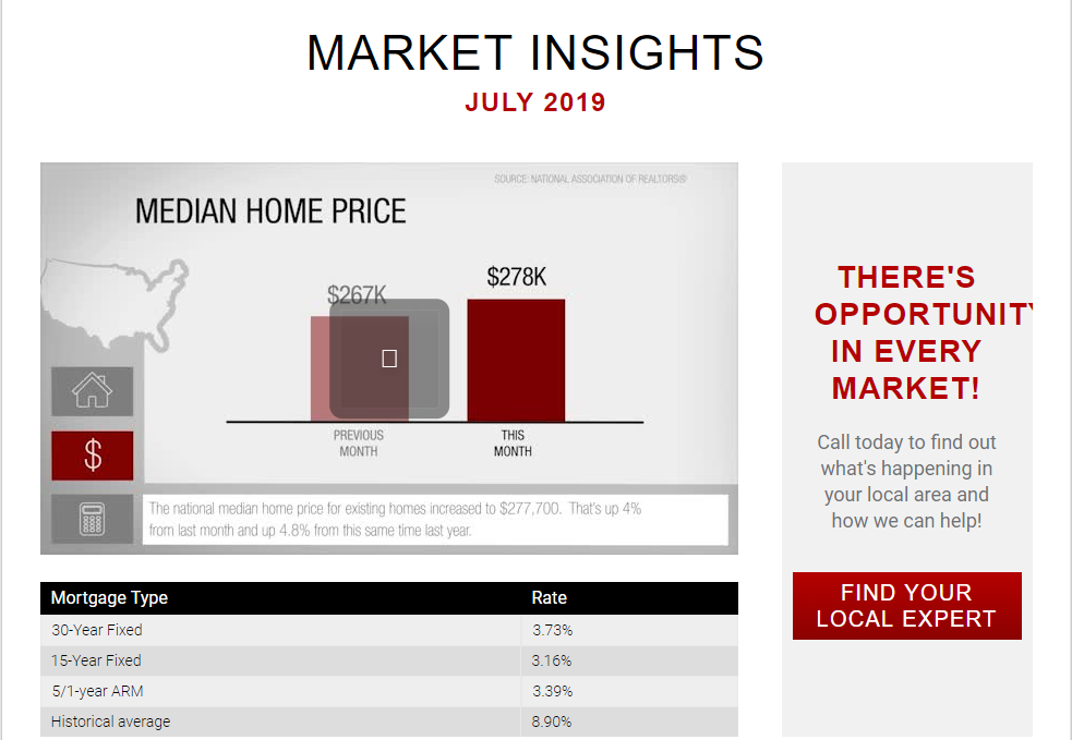 Keller Williams Realty This month in real estate July 2019 for Jean-Luc Andriot blog 071619