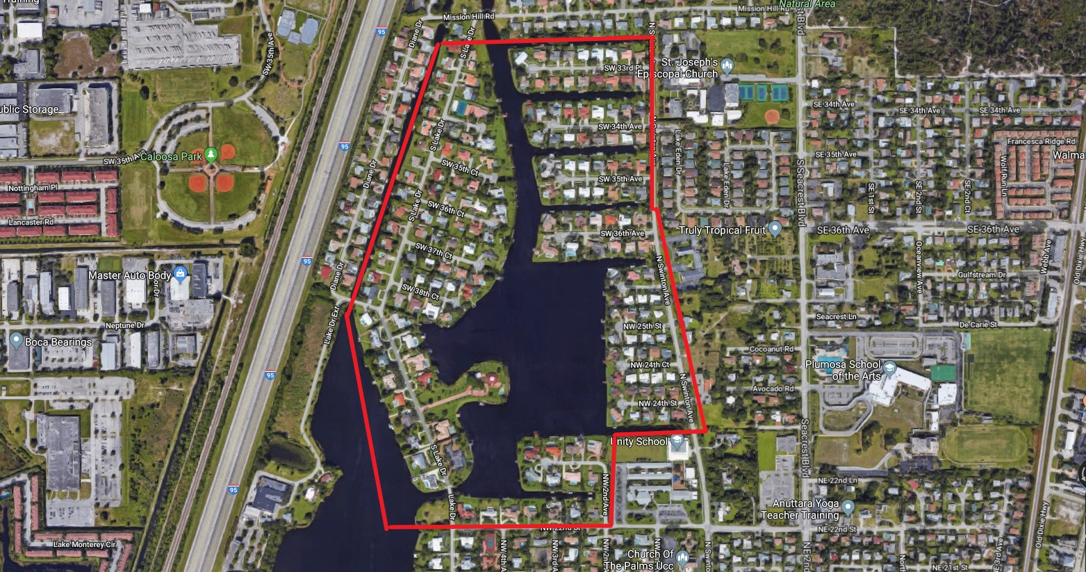 Delray Beach Lake Eden aerial homes for sale
