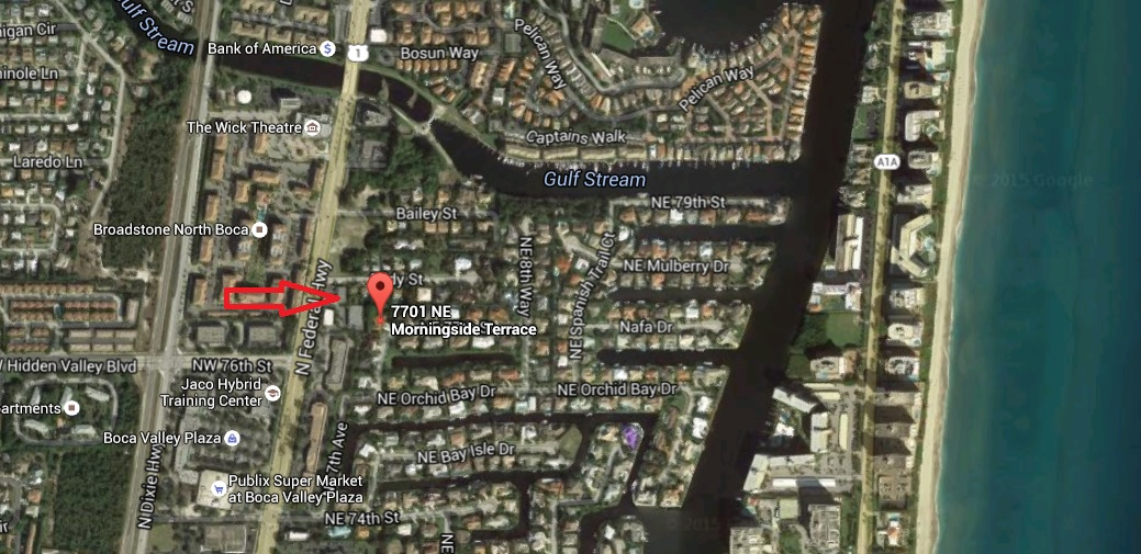 Map of 7701 NE Morningside Terrace Boca Raton, FL 33487 in Morningside