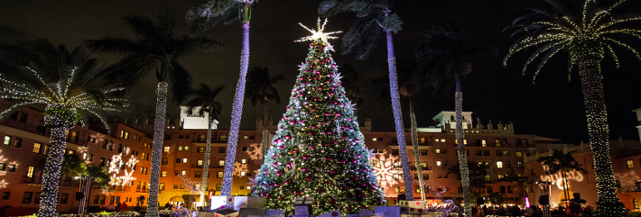 Mizner Park Boca Raton at night Holiday Season